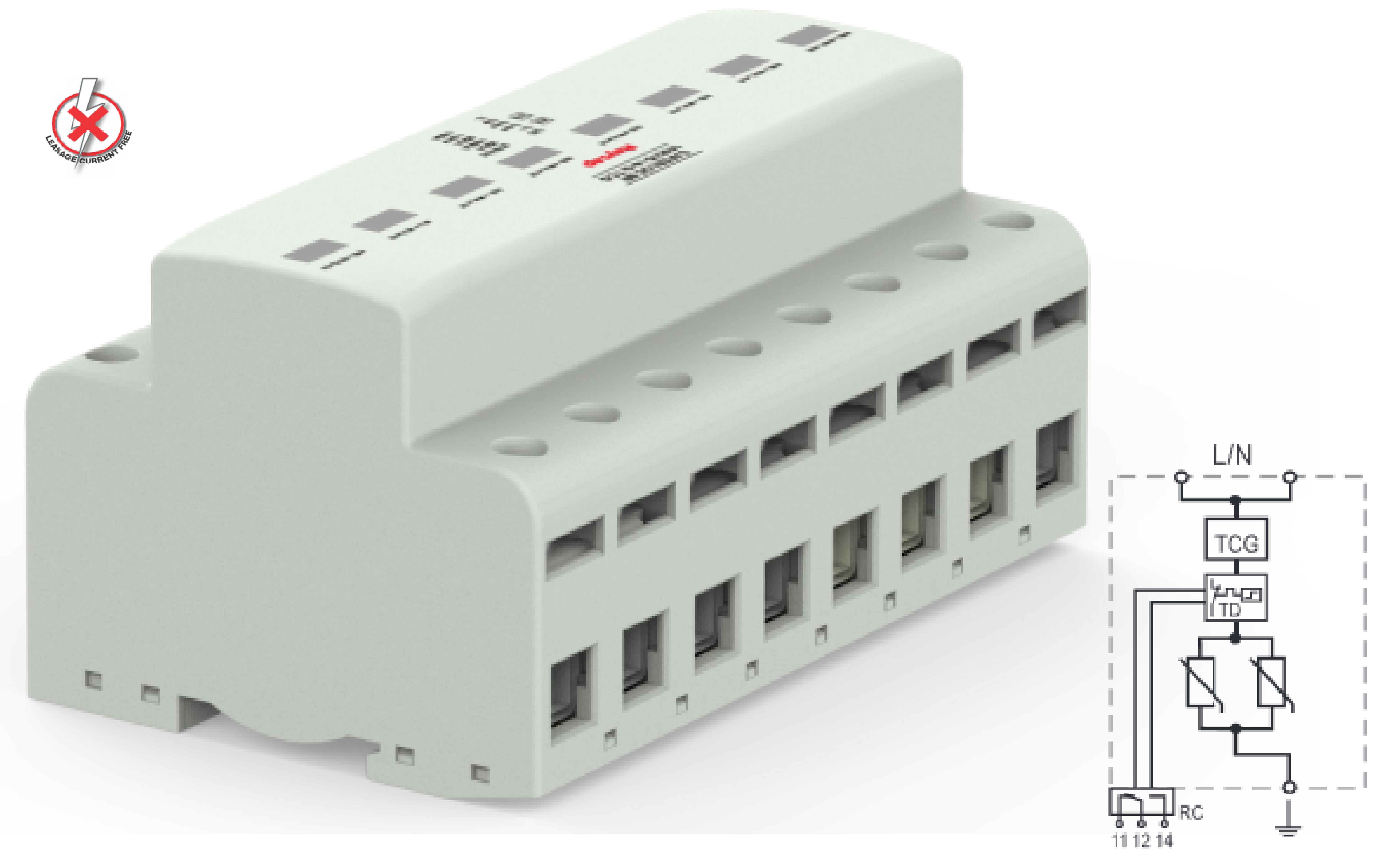 SafeBloc B(R) TCG & SafeTube B. Sin corriente de fugas, Iimp 12,5 y 25kA