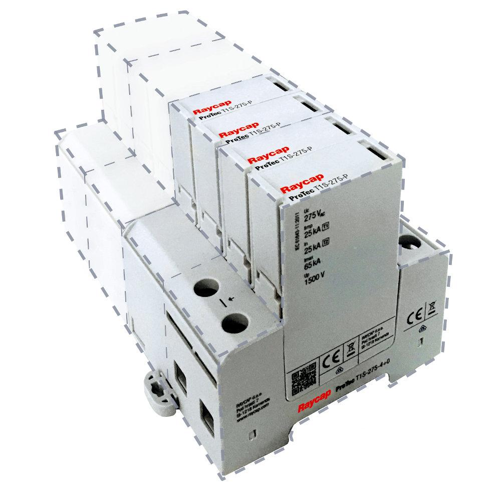Dispositivos de protección de sobretensión Clase I para carril DIN